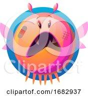 Scared Pink Cartoon Monster Illustartion