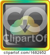 Cloud Download Grey Square Icon Illustration With Yellow And Green Details On White Background