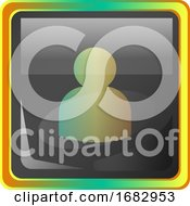 Avatar Grey Square Icon Illustration With Yellow And Green Details On White Background