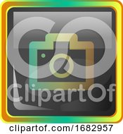 Camera Grey Square Icon Illustration With Yellow And Green Details On White Background