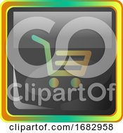 Cart Grey Square Icon Illustration With Yellow And Green Details On White Background