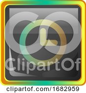 Clock Grey Square Icon Illustration With Yellow And Green Details On White Background
