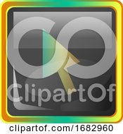 Cursor Grey Square Icon Illustration With Yellow And Green Details On White Background