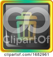Deleted Files Grey Square Icon Illustration With Yellow And Green Details On White Background