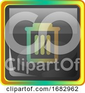 Delete Grey Square Icon Illustration With Yellow And Green Details On White Background