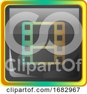 Video Gallery Grey Square Icon Illustration With Yellow And Green Details On White Background