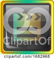 Film Grey Square Icon Illustration With Yellow And Green Details On White Background