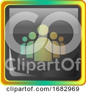 Groupchat Grey Square Icon Illustration With Yellow And Green Details On White Background