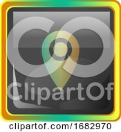 Lockation Grey Square Icon Illustration With Yellow And Green Details On White Background