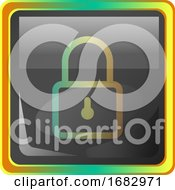 Lock Grey Square Icon Illustration With Yellow And Green Details On White Background