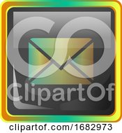 Message Grey Square Icon Illustration With Yellow And Green Details On White Background