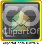 Open Message Grey Square Icon Illustration With Yellow And Green Details On White Background