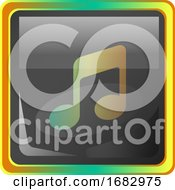 Music Grey Square Icon Illustration With Yellow And Green Details On White Background