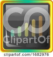 Network Grey Square Icon Illustration With Yellow And Green Details On White Background