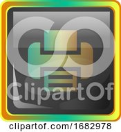 Print Grey Square Icon Illustration With Yellow And Green Details On White Background