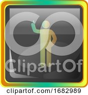 Standing Man Grey Icon Illustration With Colorful Details On White Background