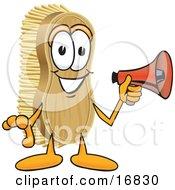 Scrub Brush Mascot Cartoon Character Holding A Red Megaphone Bullhorn