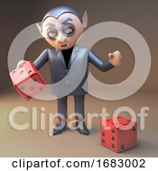 Poster, Art Print Of Cartoon 3d Dracula Vampire Character Playing With Dice At Halloween 3d Illustration