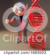 Poster, Art Print Of Cartoon 3d Dracula Vampire Character Standing Behind Dna Double Helix Gene Strand 3d Illustration