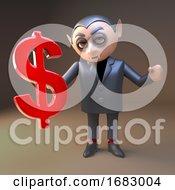 Poster, Art Print Of Cartoon 3d Vampire Dracula Character Holding A Us Dollar Currency Symbol 3d Illustration