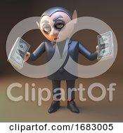 Poster, Art Print Of 3d Cartoon Vampire Dracula Character Holding Wads Of Dollar Cash Money 3d Illustration