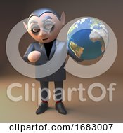 Poster, Art Print Of 3d Cartoon Dracula Vampire Character Holding A Globe Of The Earth 3d Illustration