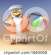 Cartoon 3d Penguin Sailor Captain In Lifejacket Playing With A Beach Ball 3d Illustration