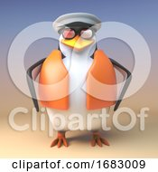 Cartoon 3d Penguin Sailor Captain In Lifeacket Standing Ready For Nautical Duty 3d Illustration
