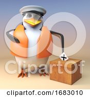 Poster, Art Print Of 3d Cartoon Penguin Sailor Captain In Lifejacket Puts His Election Vote In The Ballot Box 3d Illustration