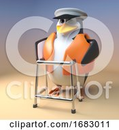 3d Cartoon Pengun Sailor Captain Walks With A Walking Frame 3d Illustration