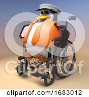 3d Cartoon Penguin Sailor Captain Gets Around In His Wheelchair 3d Illustration