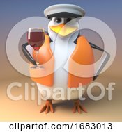 Poster, Art Print Of Cartoon 3d Penguin Sailor Captain Drinking A Nice Red Wine In Wine Glass 3d Illustration