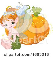 Cute Autumn Fairy Sitting By A Magical Pumpkin