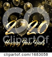 Happy New Year Background With Gold Glittery Balloons