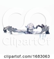 3D Evil Zombie On A White Background