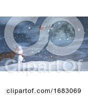 3D Christmas Landscape With Snowman Reindeer And Santa In The Sky