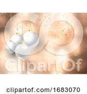 Christmas Baubles On Confetti Background