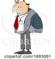 Cartoon Business Man With Duct Tape Over His Mouth