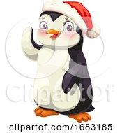 Cute Penguin Wearing A Santa Hat