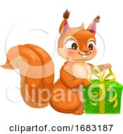 Cute Squirrel Opening A Present