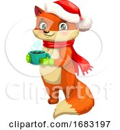 Cute Christmas Fox Holding A Coffee Cup by Vector Tradition SM
