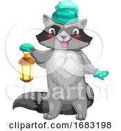 Cute Raccoon Holding A Lantern