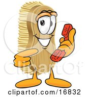 Scrub Brush Mascot Cartoon Character Holding And Pointing To A Red Phone