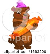 Poster, Art Print Of Cute Bear Holding Candy