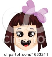 Smiling Girl With Brown Hair And Violet Hair Bow