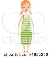 Girl In Green Dress Illustration