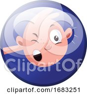 Baby Vector Illustration In Deep Blue Circle