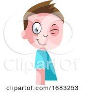 Little Boy In Blue Top Winking Illustration