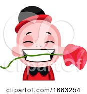 Little Boy Holding A Rose In His Teeth Illustration