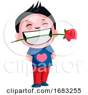 Boy Carrying Rose In His Teeth Illustration